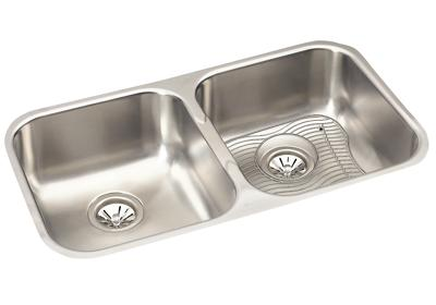 "Image for Elkay Stainless Steel 31-3/4"" x 18-1/4"" x 8"", Equal Double Bowl Undermount Sink Kit from ELKAY"