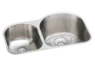"Image for Elkay Stainless Steel 31-1/4"" x 20"" x 10"", Offset 40/60 Double Bowl Undermount Sink Kit from ELKAY"