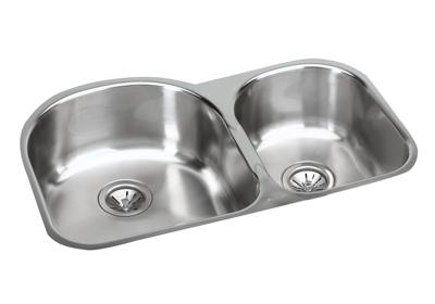 "Image for Elkay Stainless Steel 31-1/4"" x 20"" x 10"", Offset 60/40 Double Bowl Undermount Sink Kit from ELKAY"