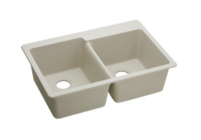 "Image for Elkay Quartz Classic 33"" x 22"" x 9-1/2"", Offset Double Bowl Top Mount Sink, Bisque from ELKAY"
