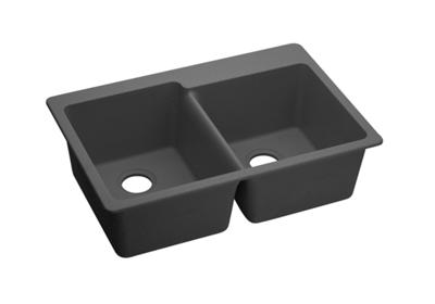 "Image for Elkay Quartz Classic 33"" x 22"" x 9-1/2"", Offset Double Bowl Top Mount Sink, Dusk Gray from ELKAY"