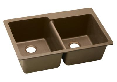 "Image for Elkay Quartz Classic 33"" x 22"" x 9-1/2"", Offset Double Bowl Top Mount Sink, Mocha from ELKAY"