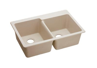 "Image for Elkay Quartz Classic 33"" x 22"" x 9-1/2"", Offset Double Bowl Top Mount Sink, Putty from ELKAY"