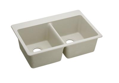 "Image for Elkay Quartz Classic 33"" x 22"" x 9-1/2"", Equal Double Bowl Top Mount Sink, Bisque from ELKAY"