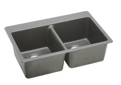 "Image for Elkay Quartz Classic 33"" x 22"" x 9-1/2"", Equal Double Bowl Top Mount Sink, Greystone from ELKAY"