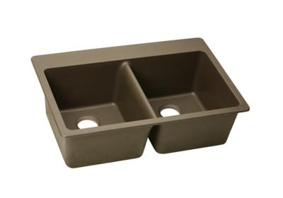 "Image for Elkay Quartz Classic 33"" x 22"" x 9-1/2"", Equal Double Bowl Top Mount Sink, Mocha from ELKAY"