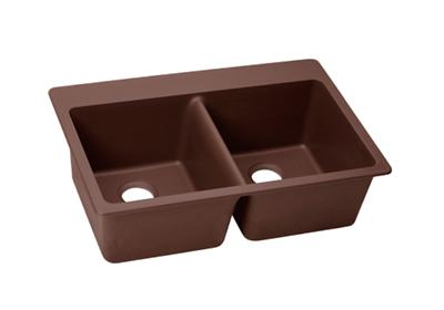 "Image for Elkay Quartz Classic 33"" x 22"" x 9-1/2"", Equal Double Bowl Top Mount Sink, Pecan from ELKAY"
