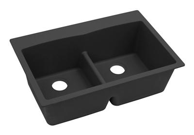 "Image for Elkay Quartz Classic 33"" x 22"" x 10"", Equal Double Bowl Top Mount Sink with Aqua Divide, Black from ELKAY"