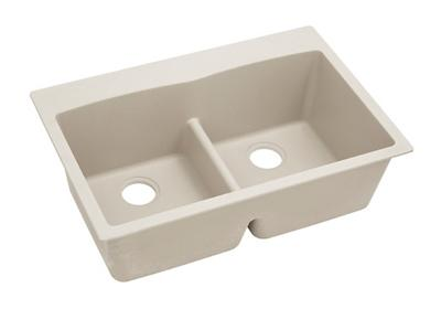 "Image for Elkay Quartz Classic 33"" x 22"" x 10"", Equal Double Bowl Top Mount Sink with Aqua Divide, Bisque from ELKAY"