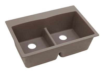 "Image for Elkay Quartz Classic 33"" x 22"" x 10"", Equal Double Bowl Top Mount Sink with Aqua Divide, Greige from ELKAY"