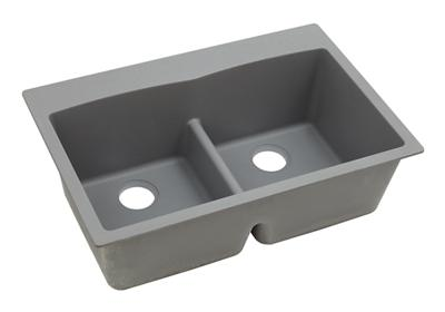 "Image for Elkay Quartz Classic 33"" x 22"" x 10"", Equal Double Bowl Top Mount Sink with Aqua Divide, Greystone from ELKAY"