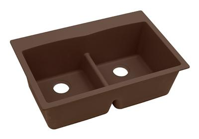 "Image for Elkay Quartz Classic 33"" x 22"" x 10"", Equal Double Bowl Top Mount Sink with Aqua Divide, Mocha from ELKAY"