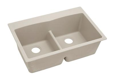 "Image for Elkay Quartz Classic 33"" x 22"" x 10"", Equal Double Bowl Top Mount Sink with Aqua Divide, Putty from ELKAY"