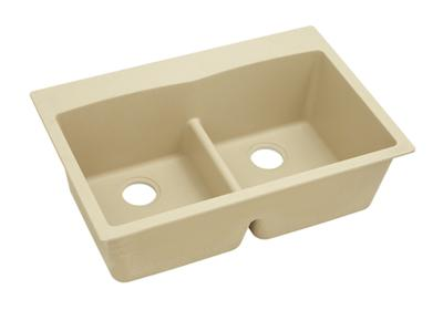 "Image for Elkay Quartz Classic 33"" x 22"" x 10"", Equal Double Bowl Top Mount Sink with Aqua Divide, Sand from ELKAY"