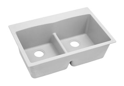 "Image for Elkay Quartz Classic 33"" x 22"" x 10"", Equal Double Bowl Top Mount Sink with Aqua Divide, White from ELKAY"
