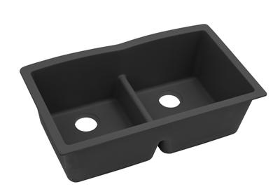 "Image for Elkay Quartz Classic 33"" x 19"" x 10"", Equal Double Bowl Undermount Sink with Aqua Divide, Black from ELKAY"