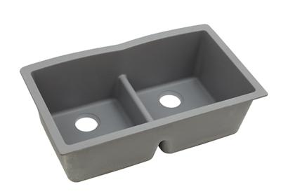 "Image for Elkay Quartz Classic 33"" x 19"" x 10"", Equal Double Bowl Undermount Sink with Aqua Divide, Greystone from ELKAY"