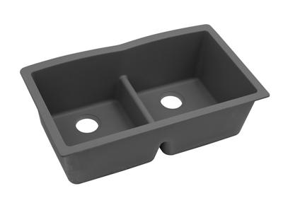 "Image for Elkay Quartz Classic 33"" x 19"" x 10"", Equal Double Bowl Undermount Sink with Aqua Divide, Dusk Gray from ELKAY"