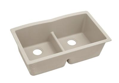 "Image for Elkay Quartz Classic 33"" x 19"" x 10"", Equal Double Bowl Undermount Sink with Aqua Divide, Putty from ELKAY"