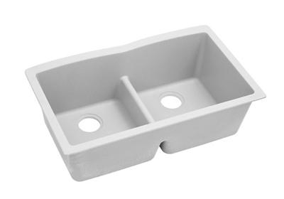 "Image for Elkay Quartz Classic 33"" x 19"" x 10"", Equal Double Bowl Undermount Sink with Aqua Divide, White from ELKAY"