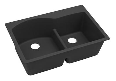 "Image for Elkay Quartz Classic 33"" x 22"" x 10"", Offset 60/40 Double Bowl Top Mount Sink with Aqua Divide, Black from ELKAY"