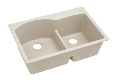 "Image for Elkay Quartz Classic 33"" x 22"" x 10"", Offset 60/40 Double Bowl Top Mount Sink with Aqua Divide, Bisque from ELKAY"