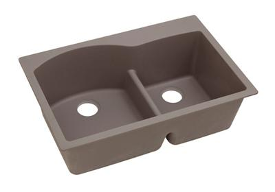 "Image for Elkay Quartz Classic 33"" x 22"" x 10"", Offset 60/40 Double Bowl Top Mount Sink with Aqua Divide, Greige from ELKAY"