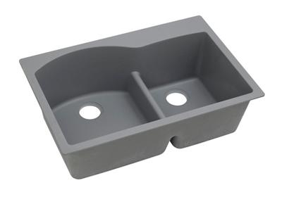 "Image for Elkay Quartz Classic 33"" x 22"" x 10"", Offset 60/40 Double Bowl Top Mount Sink with Aqua Divide, Greystone from ELKAY"