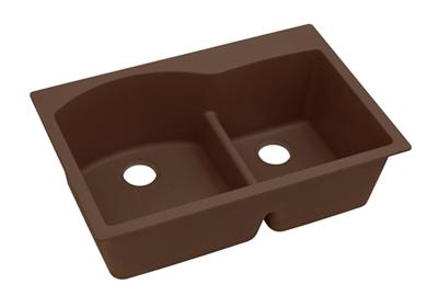"Image for Elkay Quartz Classic 33"" x 22"" x 10"", Offset 60/40 Double Bowl Top Mount Sink with Aqua Divide, Mocha from ELKAY"