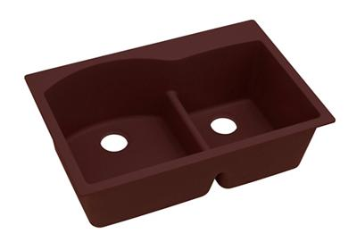 "Image for Elkay Quartz Classic 33"" x 22"" x 10"", Offset 60/40 Double Bowl Top Mount Sink with Aqua Divide, Pecan from ELKAY"