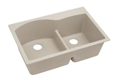 "Image for Elkay Quartz Classic 33"" x 22"" x 10"", Offset 60/40 Double Bowl Top Mount Sink with Aqua Divide, Putty from ELKAY"