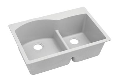 "Image for Elkay Quartz Classic 33"" x 22"" x 10"", Offset 60/40 Double Bowl Top Mount Sink with Aqua Divide, White from ELKAY"