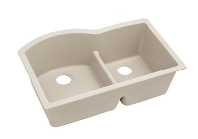 "Image for Elkay Quartz Classic 33"" x 22"" x 10"", Offset 60/40 Double Bowl Undermount Sink with Aqua Divide, Bisque from ELKAY"