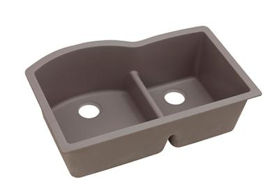 "Image for Elkay Quartz Classic 33"" x 22"" x 10"", Offset 60/40 Double Bowl Undermount Sink with Aqua Divide, Greige from ELKAY"