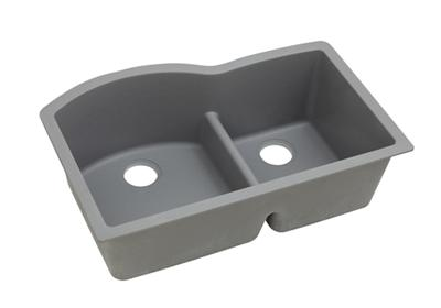 "Image for Elkay Quartz Classic 33"" x 22"" x 10"", Offset 60/40 Double Bowl Undermount Sink with Aqua Divide, Greystone from ELKAY"