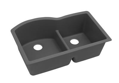 "Image for Elkay Quartz Classic 33"" x 22"" x 10"", 60/40 Double Bowl Undermount Sink with Aqua Divide, Dusk Gray from ELKAY"