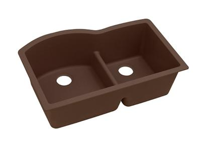 "Image for Elkay Quartz Classic 33"" x 22"" x 10"", Offset 60/40 Double Bowl Undermount Sink with Aqua Divide, Mocha from ELKAY"
