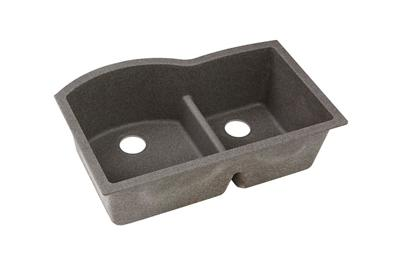 "Image for Elkay Quartz Classic 33"" x 22"" x 10"", Offset 60/40 Double Bowl Undermount Sink with Aqua Divide, Slate from ELKAY"