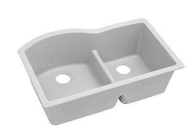 "Image for Elkay Quartz Classic 33"" x 22"" x 10"", Offset 60/40 Double Bowl Undermount Sink with Aqua Divide, White from ELKAY"