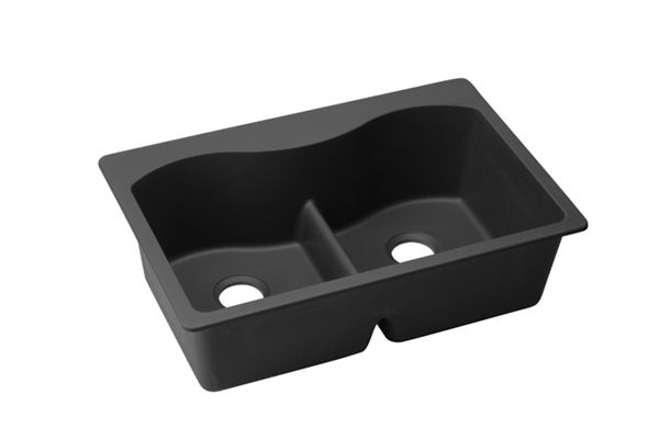 "Elkay Quartz Classic 33"" x 22"" x 9-1/2"", Equal Double Bowl Top Mount Sink with Aqua Divide"