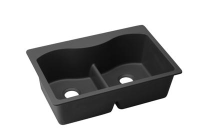 "Image for Elkay Quartz Classic 33"" x 22"" x 9-1/2"", Equal Double Bowl Top Mount Sink with Aqua Divide, Black from ELKAY"