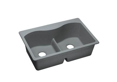"Image for Elkay Quartz Classic 33"" x 22"" x 9-1/2"", Equal Double Bowl Top Mount Sink with Aqua Divide, Greystone from ELKAY"