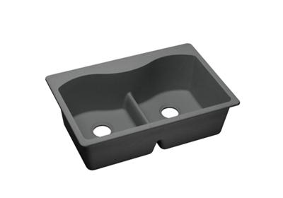 "Image for Elkay Quartz Classic 33"" x 22"" x 9-1/2"", Equal Double Bowl Top Mount Sink with Aqua Divide, Dusk Gray from ELKAY"