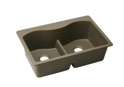 "Image for Elkay Quartz Classic 33"" x 22"" x 9-1/2"", Equal Double Bowl Top Mount Sink with Aqua Divide, Mocha from ELKAY"