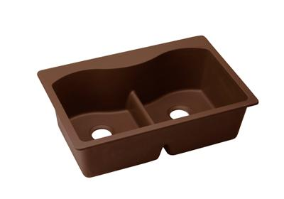 "Image for Elkay Quartz Classic 33"" x 22"" x 9-1/2"", Equal Double Bowl Top Mount Sink with Aqua Divide, Pecan from ELKAY"