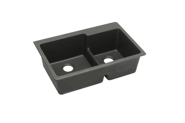 "Elkay Quartz Classic 33"" x 22"" x 9-1/2"", Offset 60/40 Double Bowl Top Mount Sink with Aqua Divide"