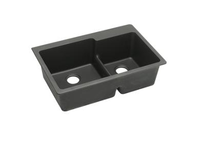 "Image for Elkay Quartz Classic 33"" x 22"" x 9-1/2"", Offset 60/40 Double Bowl Top Mount Sink with Aqua Divide, Black from ELKAY"