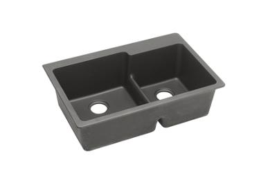 "Image for Elkay Quartz Classic 33"" x 22"" x 9-1/2"", Offset 60/40 Double Bowl Top Mount Sink with Aqua Divide, Dusk Gray from ELKAY"