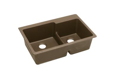 "Image for Elkay Quartz Classic 33"" x 22"" x 9-1/2"", Offset 60/40 Double Bowl Top Mount Sink with Aqua Divide, Mocha from ELKAY"