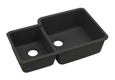 "Image for Elkay Quartz Classic 33"" x 20-11/16"" x 9"", Offset 40/60 Double Bowl Undermount Sink, Black from ELKAY"